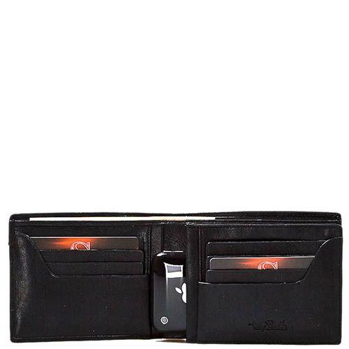 Черное вместительное портмоне Tony Perotti Giugiaro из зернистой кожи, фото