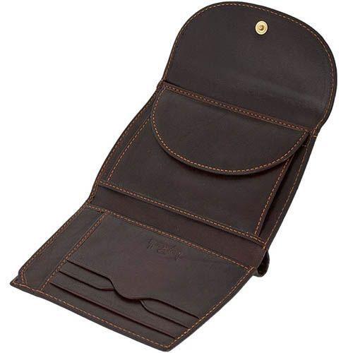 Женское коричневое портмоне Tony Perotti Italico прошитое желтой нитью, фото