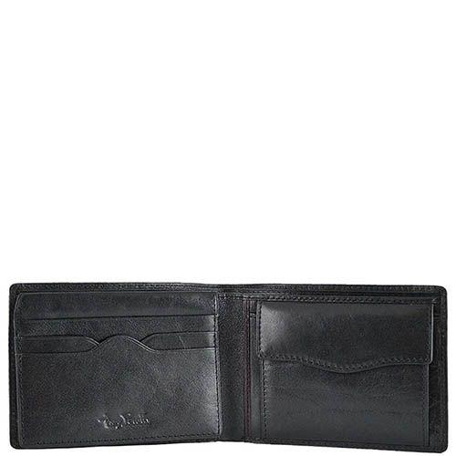 Черное портмоне из гладкой кожи Tony Perotti Italico с откидным отделением и тиснением, фото