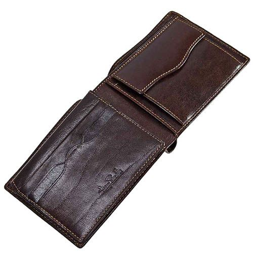 Вместительный кошелек из коричневой кожи Tony Perotti Italico с фирменным тиснением прошит нитью, фото