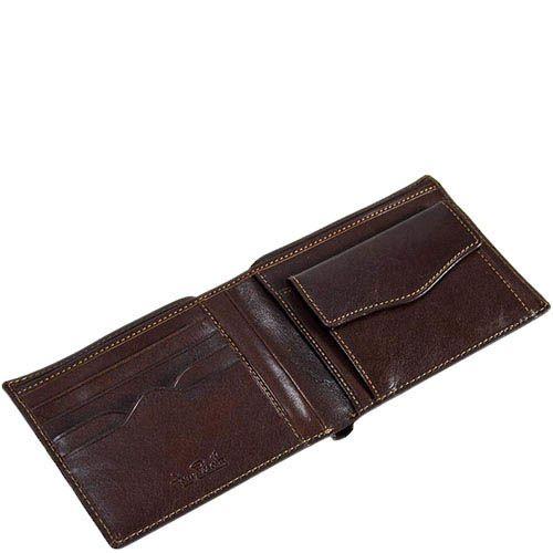 Горизонтальное кожаное портмоне Tony Perotti Italico прошитое оранжевой нитью, фото