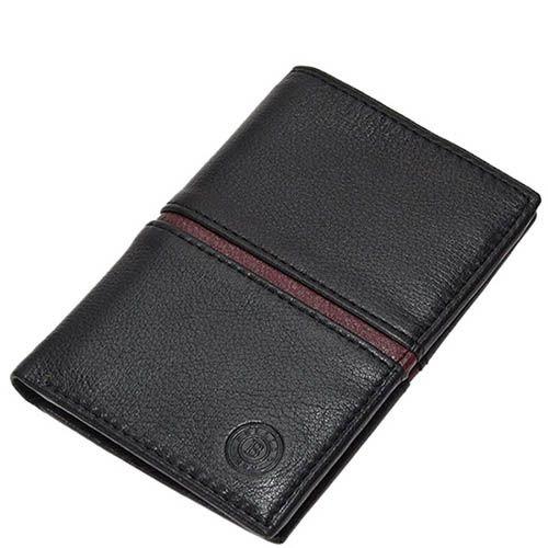 Плоское черное портмоне Miguel Bellido Moments с коричневой вставкой, фото