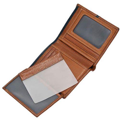 Небольшое коричневое портмоне Miguel Bellido Moments из зернистой кожи с синей вставкой, фото