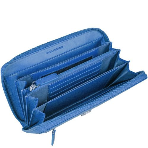 Портмоне Piquadro Crayon на молнии синее с красивой фактурой Сафьяно, фото