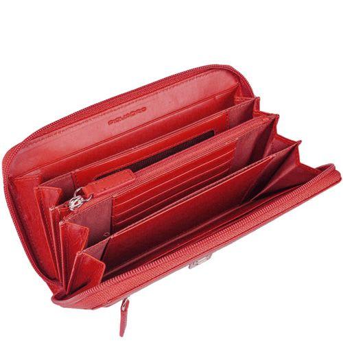 Портмоне Piquadro Crayon на молнии красное с красивой фактурой Сафьяно, фото