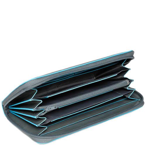 Серое кожаное портмоне Piquadro Blue Square на молнии с голубым кантом, фото