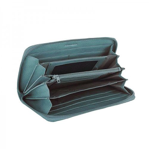 Крупное портмоне на молнии Piquadro Shimmer голубое, фото