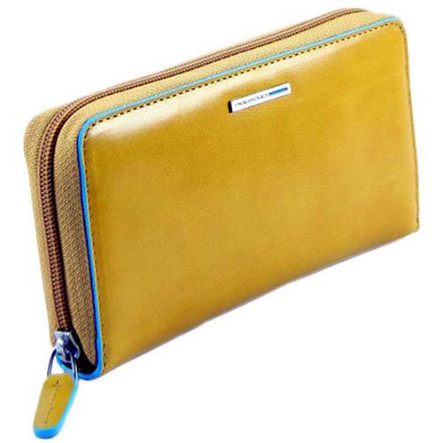 Желтое кожаное портмоне Piquadro Blue Square с тремя отделениями, фото