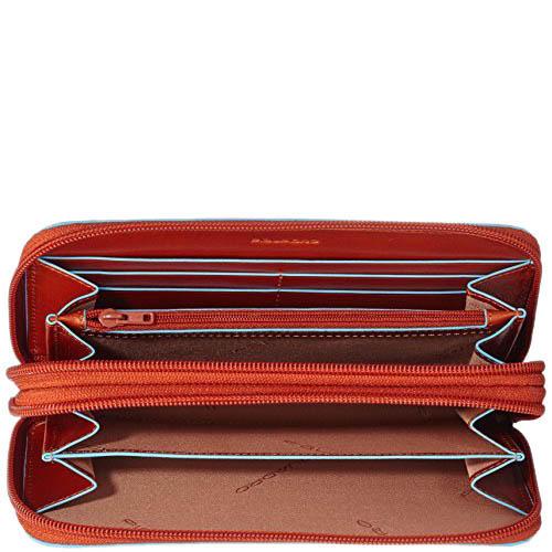 Оранжевое кожаное портмоне Piquadro Blue Square с карманом для смартфона, фото