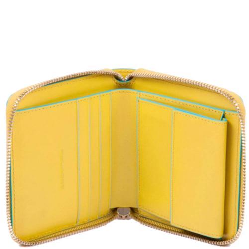 Женское портмоне Piquadro BL Square желтого цвета, фото