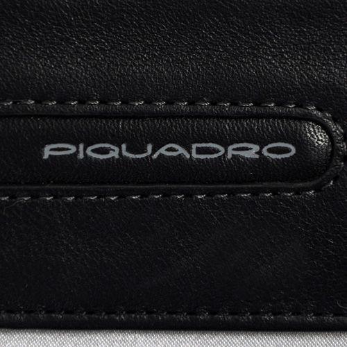 Кожаная черная кредитница Piquadro Freeway с отделением на молнии, фото