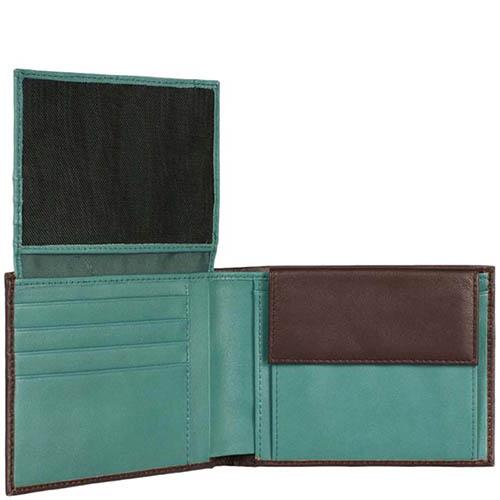 Горизонтальное коричневое портмоне Piquadro Freeway со вставками зеленого цвета, фото