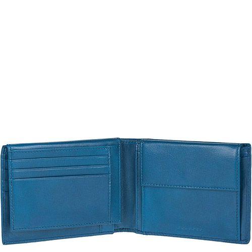 Портмоне мужское Piquadro Signo голубого цвета горизонтальное, фото