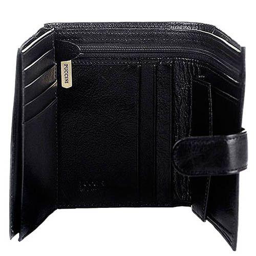 Вертикальное черное портмоне Puccini Masterpiece из кожи на застежке, фото