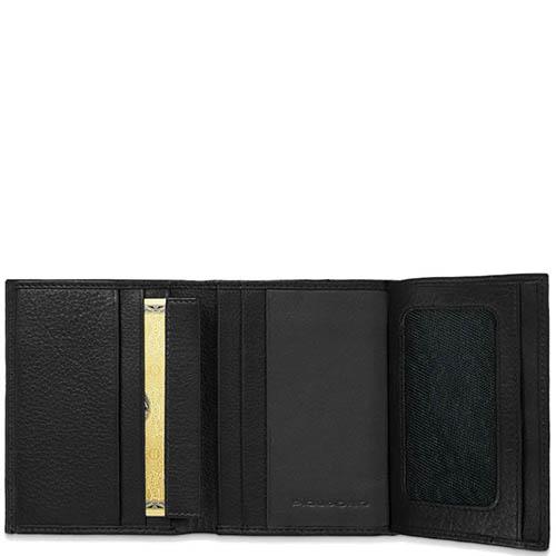 Вертикальное портмоне Piquadro Blue Square из кожи черного цвета, фото