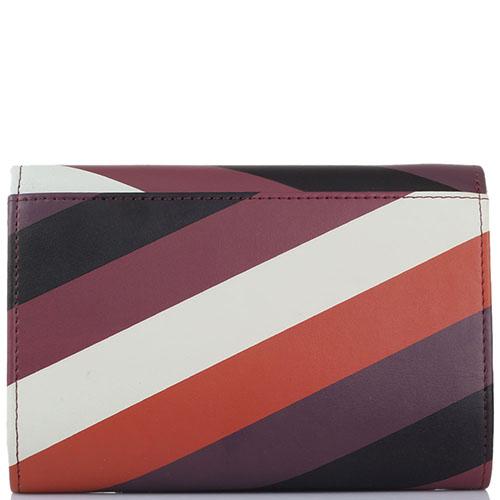 Женское портмоне Tosca Blu бордового цвета с принтом в полоску, фото