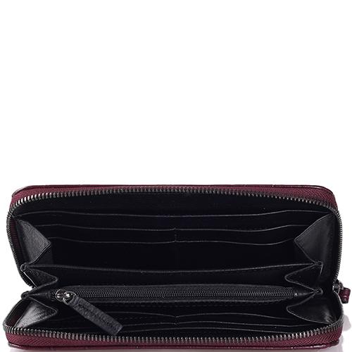Бордовый портмоне Tosca Blu с тиснением кроко, фото