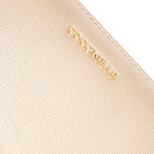 Золотистое портмоне Coccinelle из кожи с тиснением Сафьяно, фото