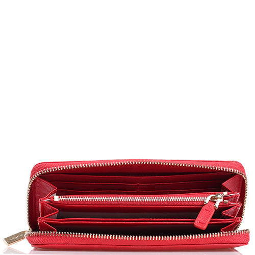 Портмоне Coccinelle из кожи с тиснением Сафьяно красного цвета, фото