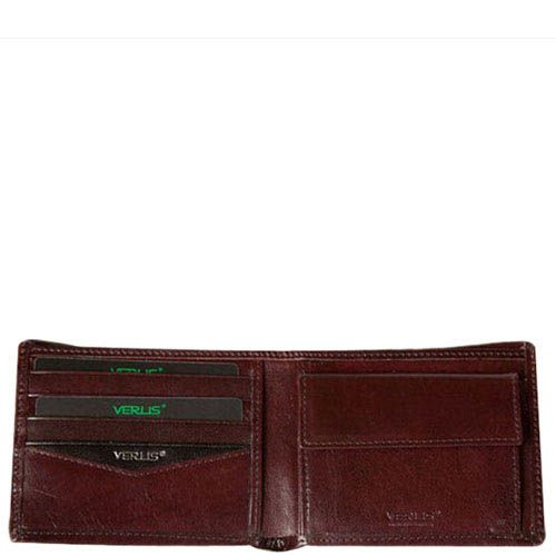 Классическое коричневое портмоне Verus London из гладкой кожи с тиснением, фото