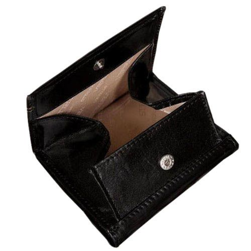 Маленький практичный кошелек Verus London из черной кожи прошитой нитью, фото