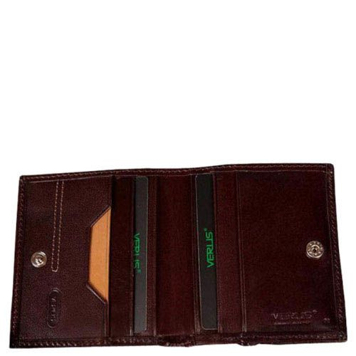 Небольшой коричневый кошелек Verus London из натуральной гладкой кожи, фото