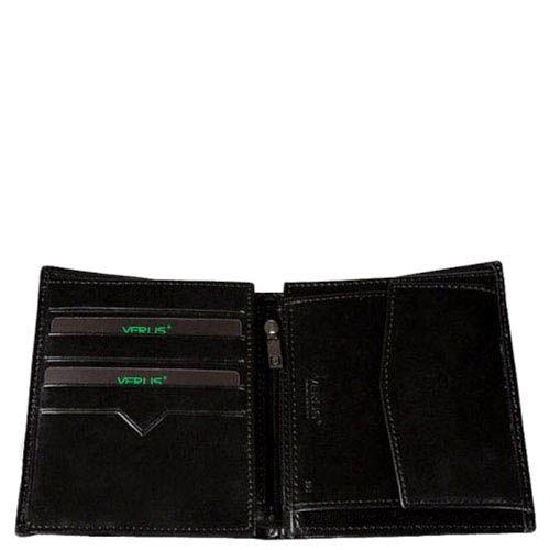 Компактный кошелек Verus Mil из натуральной гладкой кожи черного цвета, фото
