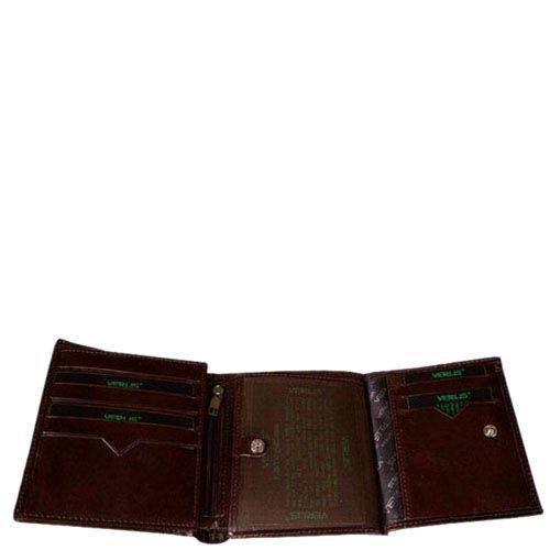 Компактный вместительный кошелек Verus Mil из натуральной коричневой кожи, фото