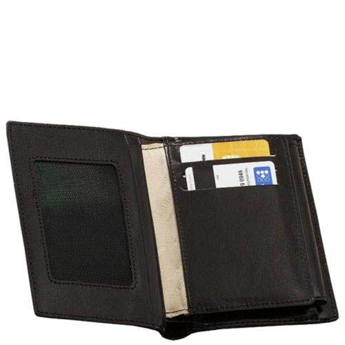 Компактное черное портмоне Verus Mil из натуральной гладкой кожи, фото