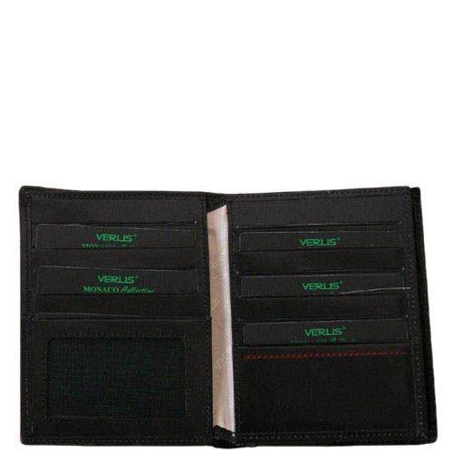 Черное портмоне с множеством карманов Verus Mon из натуральной гладкой кожи, фото