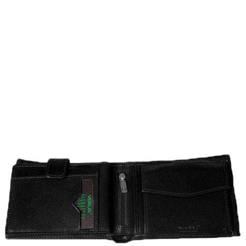 Черный кожаный кошелек Verus Paris из кожи в фирменным тиснением, фото