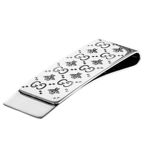 Зажим для денег Gucci Interlocking G с гравировкой пчелы и фирменного логотипа, фото