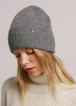 Темно-серая кашемировая шапка GD Cashmere с отворотом, фото