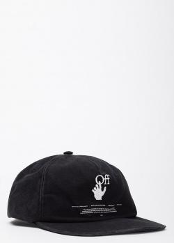 Черная кепка Off-White с фирменной вышивкой, фото