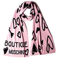 Шарф Boutique Moschino с пудровыми и черными сердцами, фото