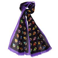 Черный шарф Moschino с брендовым узором, фото