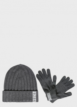 Серый комплект Bikkembergs шапка с перчатками, фото