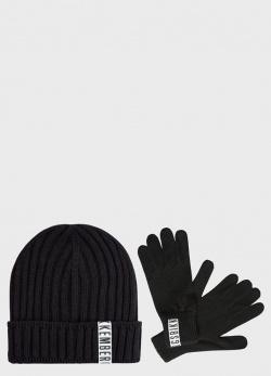 Черный комплект Bikkembergs шапка с перчатками, фото
