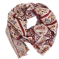 Бордовый палантин Maalbi с орнаментом, фото