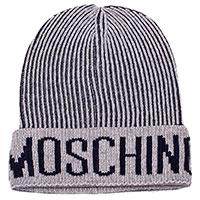 Серая шапка Moschino с брендовой надписью, фото