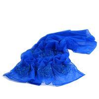 Полупрозрачный палантин лазурного синего цвета, фото