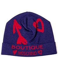 Шапка Boutique Moschino с брендированием и сердцами, фото