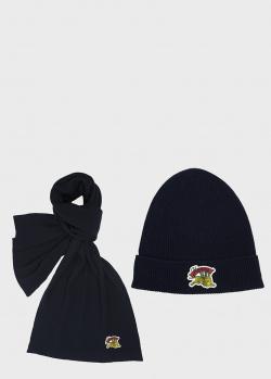 Темно-синяя шапка Kenzo с фирменным декором, фото