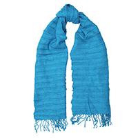 Синий шарф-плиссе Fattorseta с бахромой, фото