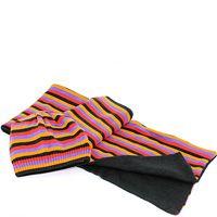 Шерстяные шарф и шапка Maalbi черные с оранжевыми и лавандовыми полосами, фото