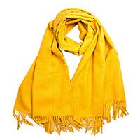Кашемировый палантин AMO Accessori желтого цвета, фото