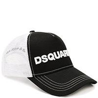 Черная кепка Dsquared2 с брендовой вышивкой, фото