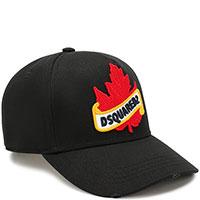 Черная бейсболка Dsquared2 с кленовым листом, фото