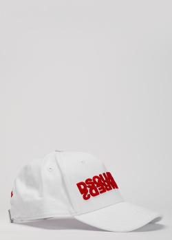 Белая кепка Dsquared2 с красной вышивкой, фото