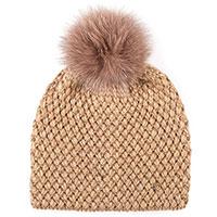 Бежевая шапка Coccinelle с помпоном, фото